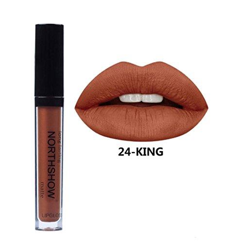ESAILQ 2017 Neu 8g Flüssige Lippenstift Feuchtigkeitscreme Samt Lippenstift Kosmetik Schönheit Make up 24 Farbe (X)