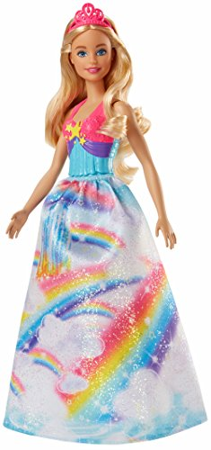 Barbie Dreamtopia, muñeca Princesa falda azul arcoiris,  juguete +3 años (Mattel FJC95)