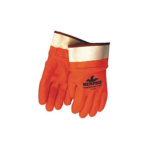 MCR Sicherheit 6710F Schaumstoff gefüttert PVC Doppel getaucht Handschuhe mit gummierten Sicherheit Manschette, orange/weiß, groß (Doppel-manschette-handschuhe)