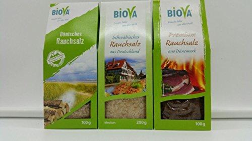 3er Rauchsalz Probier- Mix Set BIOVA 100g Dänisches Rauchsalz + 200g Schwäbisches Rauchsalz + 100g Premium Rauchsalz aus Dänemark, Gourmet Gewrüze Salz Set, Feinkost Gewürz Salz Geschenk Box