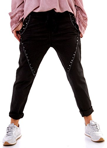 Strass-pocket-jeans (Damen Jogging-Look Jeans Baggy Chino Pearl - Size 36 - Denim Sweatshirthose - Perlen - Metallfäden)