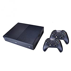 Kohlefaser-Design Aufkleber Sticker Skins; Xbox One Skins für Controller und Konsole – Schwarz
