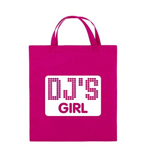 Comedy Bags - DJ'S GIRL - NEGATIV PUNKTE - Jutebeutel - kurze Henkel - 38x42cm - Farbe: Schwarz / Silber Pink / Weiss