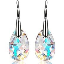 Aroncent Damen Tropfen Ohrringe Ohrstecker Ohrhänger Anhänger Silber Blau Aurora Gemacht mit 16mm SWAROVSKI® Kristallen