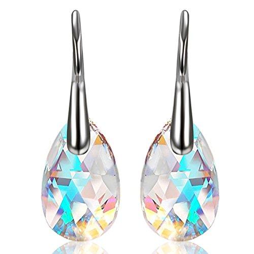 Aroncent Damen Tropfen Ohrringe Ohrstecker Ohrhänger Anhänger Silber Blau Aurora Gemacht mit 16mm Swarovski Elment Kristallen (Ohrstecker Aurora Borealis Ohrring)