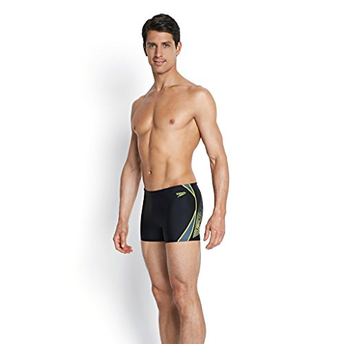 Speedo, Boxer da mare Uomo, Nero (Black/Wildlime), 42 Nero (Black/Wildlime)