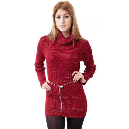 24brands - Pullover long 5 couleurs ceinture chaîne - Femmes Weinrot