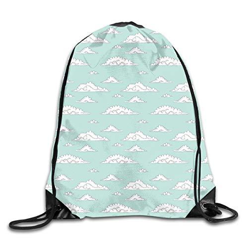 Teal And White Duvet Cover Set Twin Size, Cartoon Style White Fluffy Clouds In The Clear Summer Sky Doodle Pattern,Seafoam White_2Sport Yoga bag (Seafoam Baby Bettwäsche)