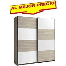 ARMARIO ROPERO DE DOS PUERTAS CORREDERAS COLECCIÓN MUNDOO, COLOR BLANCO-SABLE, MEDIDAS 201,5 x 215,5 x 56 cm.CM - OFERTAS DE HOGAR ¡AL MEJOR PRECIO!