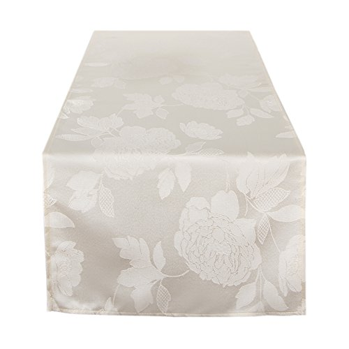 Tischläufer 40x140 cm Rose, Moderne Creme farbige Tischdecke für Küche und Garten