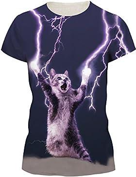 EmilyLe Mujer Summer Galaxy Print T-Shirts Camisetas de Manga Corta Casual Camisetas Divertidas