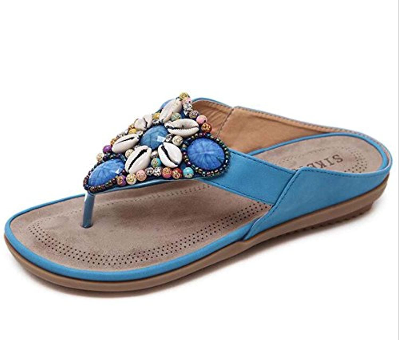 Chanclas de las mujeres sandalias planas Rhinestone bohemio romano zapatos casuales mar vacaciones zapatos eu...
