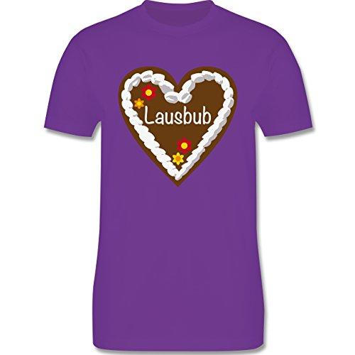 Oktoberfest Herren - Lebkuchenherz Lausbub - M - Lila - L190 - Herren T-Shirt Rundhals