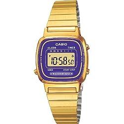 CASIO La670Wega-6Ef - Reloj de Mujer de Cuarzo, Correa de Acero Inoxidable Color Oro