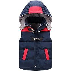 Enfants Gilet Doudoune Sans Manche Veste Hiver Manteaux à Capuche Blouson Bleu 4-5 Ans
