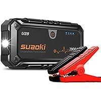 SUAOKI U28 - Arrancador de Coche 2000A, Jump Starter para Emergencias (Linterna LED con Pinzas Inteligente para 12V Vehículos, Máquinas Grandes)