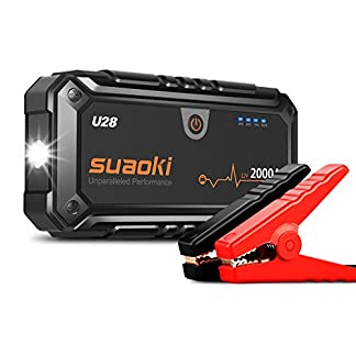 Suaoki U28 – Arrancador de Coche 2000A, Jump Starter para Emergencias (Linterna LED con Pinzas Inteligente para 12V Vehículos, Máquinas grandes)