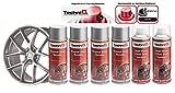 TechniQ Lot de 4 Bombes de Peinture pour Jantes en Alliage Argenté métallisé 400 ML + 2 Vernis Transparent Brillant