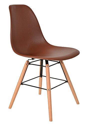 ts-ideen 1 x Design Klassiker Stuhl Retro 50er Jahre Barstuhl Küchenstuhl Esszimmer Wohnzimmer Sitz in Braun mit Holz (Retro Küchenstuhl)