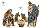 Presepe natività composto da 5 statue in resina decorata alte fino a 44 cm