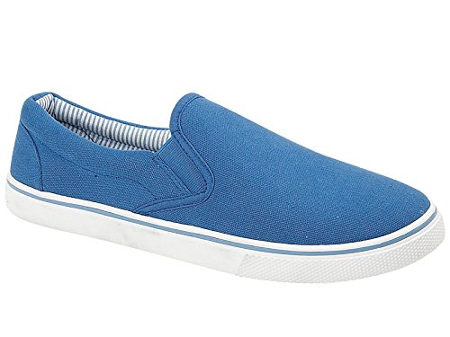 Scarpe da uomo modello espadrillas, ideali da abbinare allabbigliamento casual, scarpe antiscivolo a mocassino ideali da ginnastica, disponibili nei numeri dal 40,5 al 47 Royal Blue