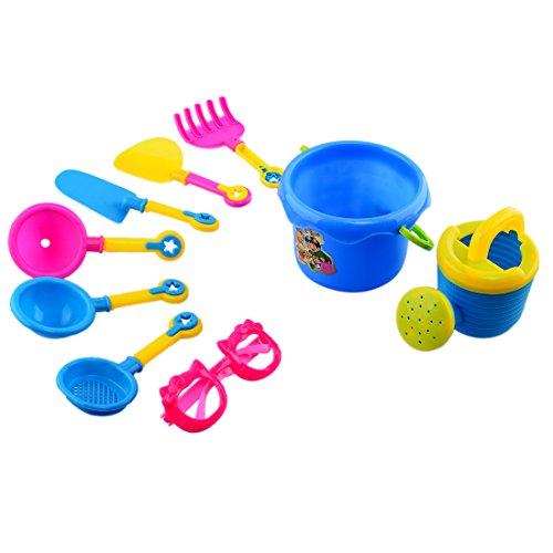 YAKOK Sandspielzeug, 9 Stück Sandkasten Spielzeug Strandspielzeug Sand Spielzeug mit Eimer, Sandformen Schaufel für Baby, Kleinkinder, Kinder, mädchen, Junge