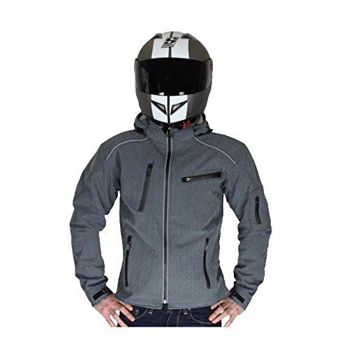 RIDER-TEC - Blouson Moto Urban SoftShell Gris - Mi-Saison&Été - Imperméable - Protections Fournies - Homologué CE - Taille-M