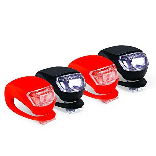 Preisvergleich Produktbild Collory mini LED Silikon-Leuchte 4er-Set inkl. Batterien | Kinderwagen-Beleuchtung | Rollstuhl-Licht | Blink-Lampe | Sicherheitsbeleuchtung | Wasserfest | einfache Montage: Clip-On