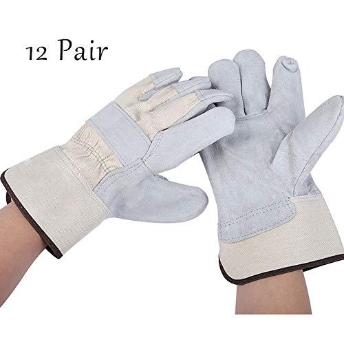 MOXIN Profi Schweißerhandschuhe Rindnarbenleder Arbeits-Handschuhe für Schweisser auch als Grillhandschuh grau Größe: 27.5 * 13cm,Gray