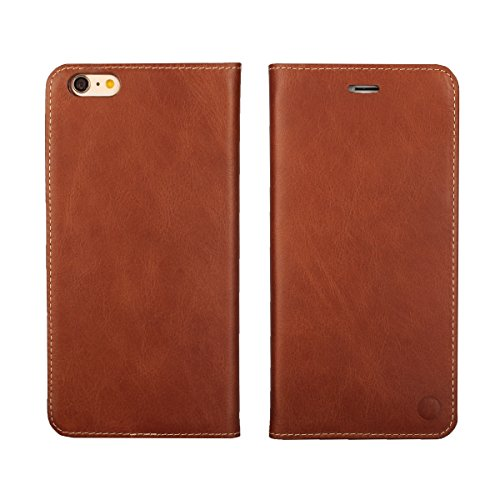 (iCoverCase) iPhone 6 Plus Wallet Case, [Full-Grain Genuine Leather] [Built-in Credit Card Slots + Cash Pocket] Soft Vintage Ultra Thin Flip Cover Case (Black) Brown
