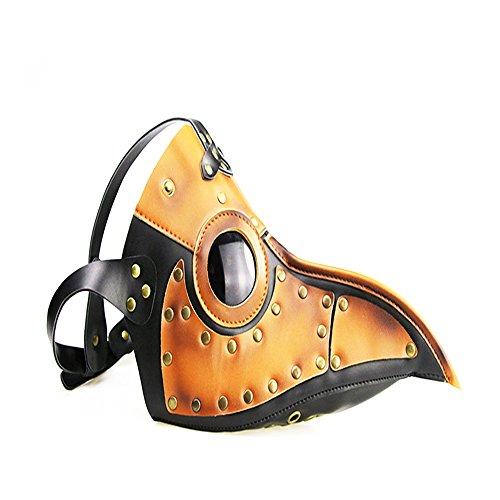 KEHUASHINA Steampunk Pest Schnabel Maske PU Haut Vogel Maske Gothic Masquerade Maske Halloween Rollenspiel Requisiten Unisex (Maske Masquerade Halloween Haut)