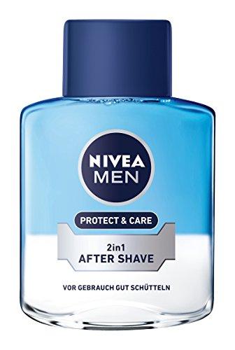 Nivea Men Protect & Care 2-in-1 After Shave im 1er Pack (1 x 100 ml), Aftershave pflegt die Haut nach der Rasur, beruhigende und erfischende Gesichtspflege -