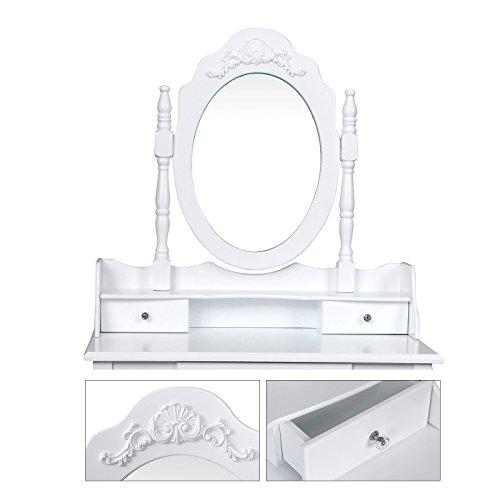 Schminktisch Frisierkommode mit Spiegel und Hocker, Weiß, Holz RDT75W - 4