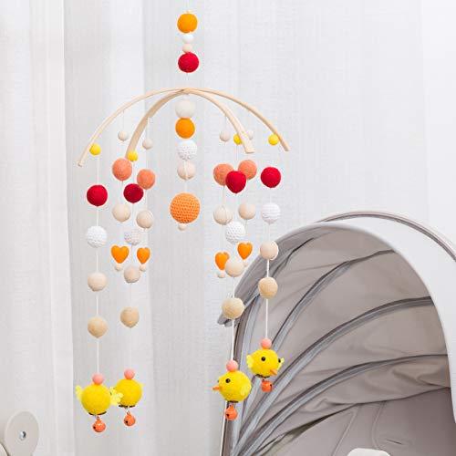 nderbett Bed Bell Filzkugel DIY Craft Kinderzimmer Dekor Baby Fotografie Requisiten Hölzernes Windspiel Zelt-Hängen Grelle Farbe ()