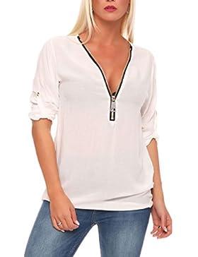 [Patrocinado]Malito Blusa con Maxi-Zipper Camisa Clásico 3/4 Túnika 9051 Mujer Talla Unica