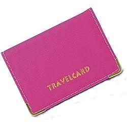 Funda de cuero para tarjeta de transporte, color Rosa, talla S