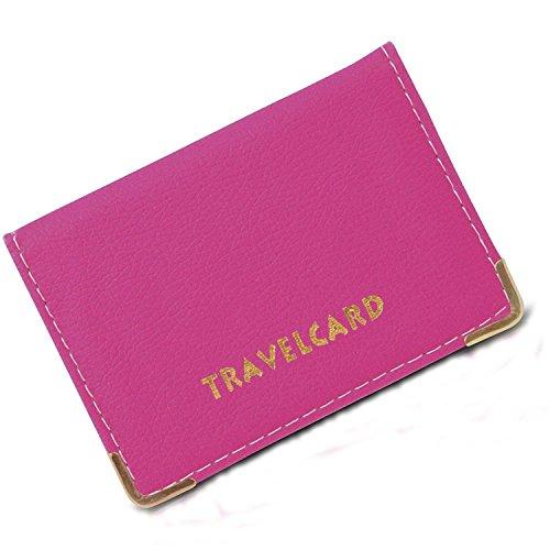 rev-pro Kartenetui / Schutzhülle, aus Leder, für Fahrkarten oder andere  Karten , Pink - rose - Größe: S