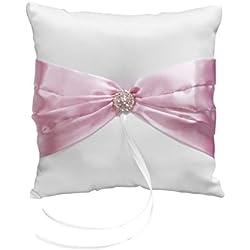 Cojín para anillos de bodas, diseño de lazo, color blanco y rosa