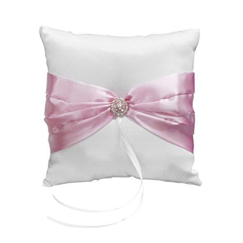 Wedding Ceremony White Satin Ring Pillow Cushion---Pink Ribbon Decor