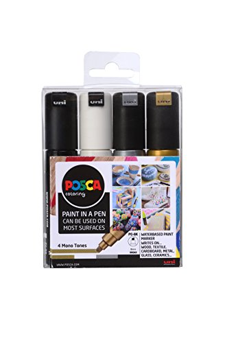 Posca 153544853 - Pack de 4 rotuladores de pintura al agua, multicolor