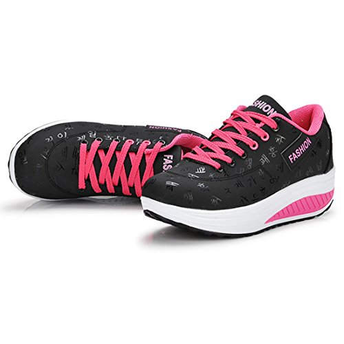 YUHUAWYH Scarpe da Donna Running Sneakers Outdoor Multisport nero-1