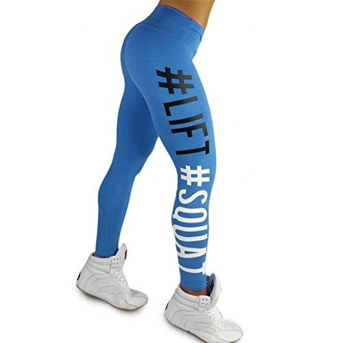 HARRYSTORE Frauen Mode Leggings Buchstaben Gedruckt Fitness Sport Running Yoga Athletic Hose (Medium, Blau) (Zebra-kleid Lila)