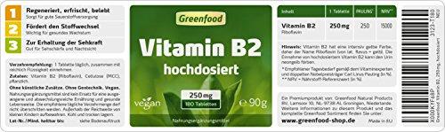 Greenfood Vitamin B2 (Riboflavin), 250 mg, hochdosiert, 180 Tabletten, vegan – schützt Augen und Haut vor freien Radikalen (UV-Licht). OHNE künstliche Zusätze. Ohne Gentechnik.
