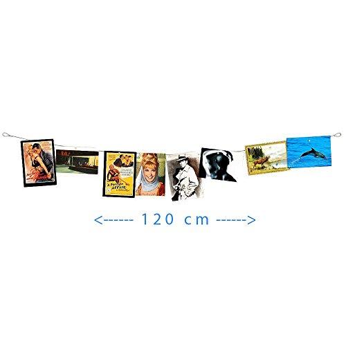 HAB & GUT (MC006) Fotoseil, Magnetseil waagerecht 120 cm, 8 Neodymmagnete (Bild Wäscheleine)