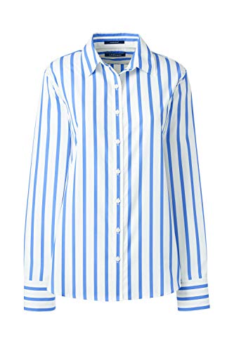 Lands' End Elegante gestreifte Langarm-Bluse für Damen aus bügelfreier Baumwolle Blau 36