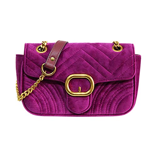 Velour Chains Flap Bag Women Velvet Gesteppte Tasche Fashion Lady Messenger Handtasche Blue Rose Red 2 22Cmx7Cmx13Cm -