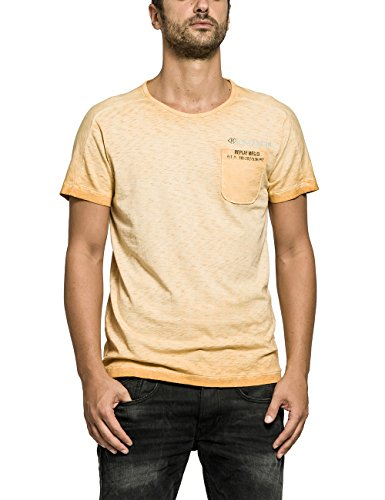 Replay Herren T-Shirt, Einfarbig Orange (ORANGE 241)