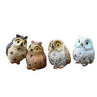 Dylandy Mini Fairy Garden Ornaments Resin Standing Owls Animal Statues Sculptures Accessories for Micro Landscape Dollhouse DIY Bonsai Craft Car Desk Decoration 4pcs