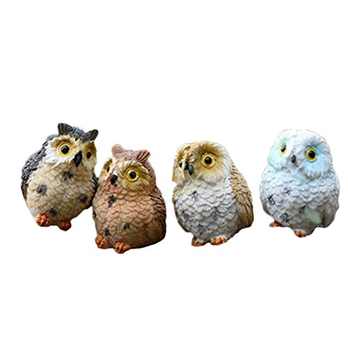 Vi.yo 1 piece of pretty animal resin owls miniatures decorative figure for fairy garden decoration at home