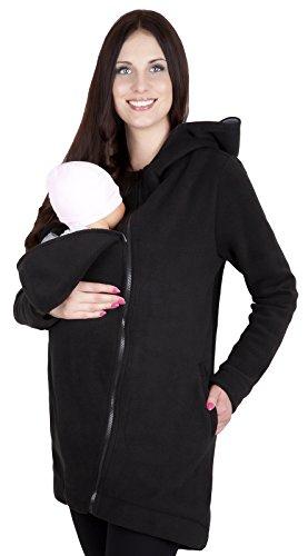 Mija - 3in1 Tragejacke, Umstandsjacke/Fleece Tragepullover für Tragetuch für Babytrage 7125 (XL / EU42, Schwarz)